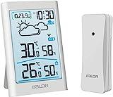 TEKFUN Wetterstation Funk mit Außensensor, Digital Thermometer Hygrometer Innen und Außen...